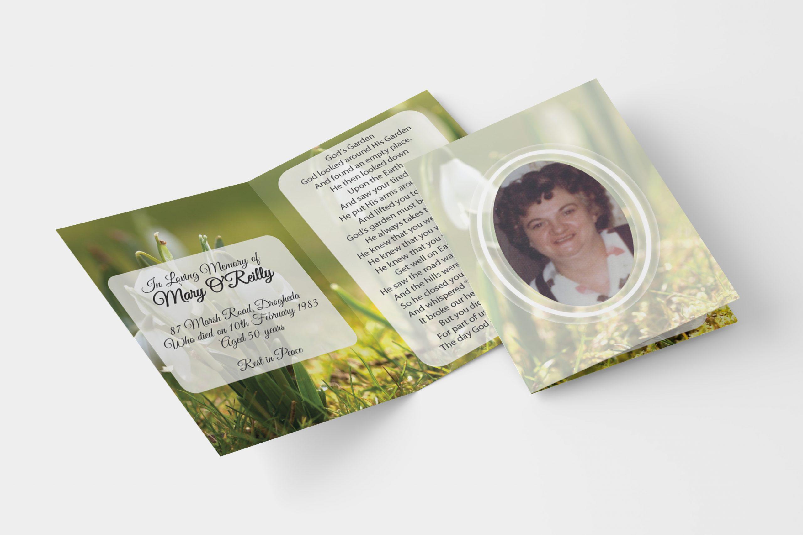 Snowdrop folded memorial card
