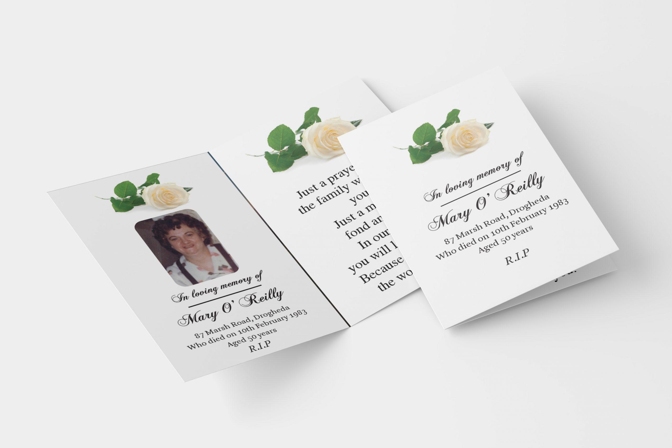 white rose folded memorial card