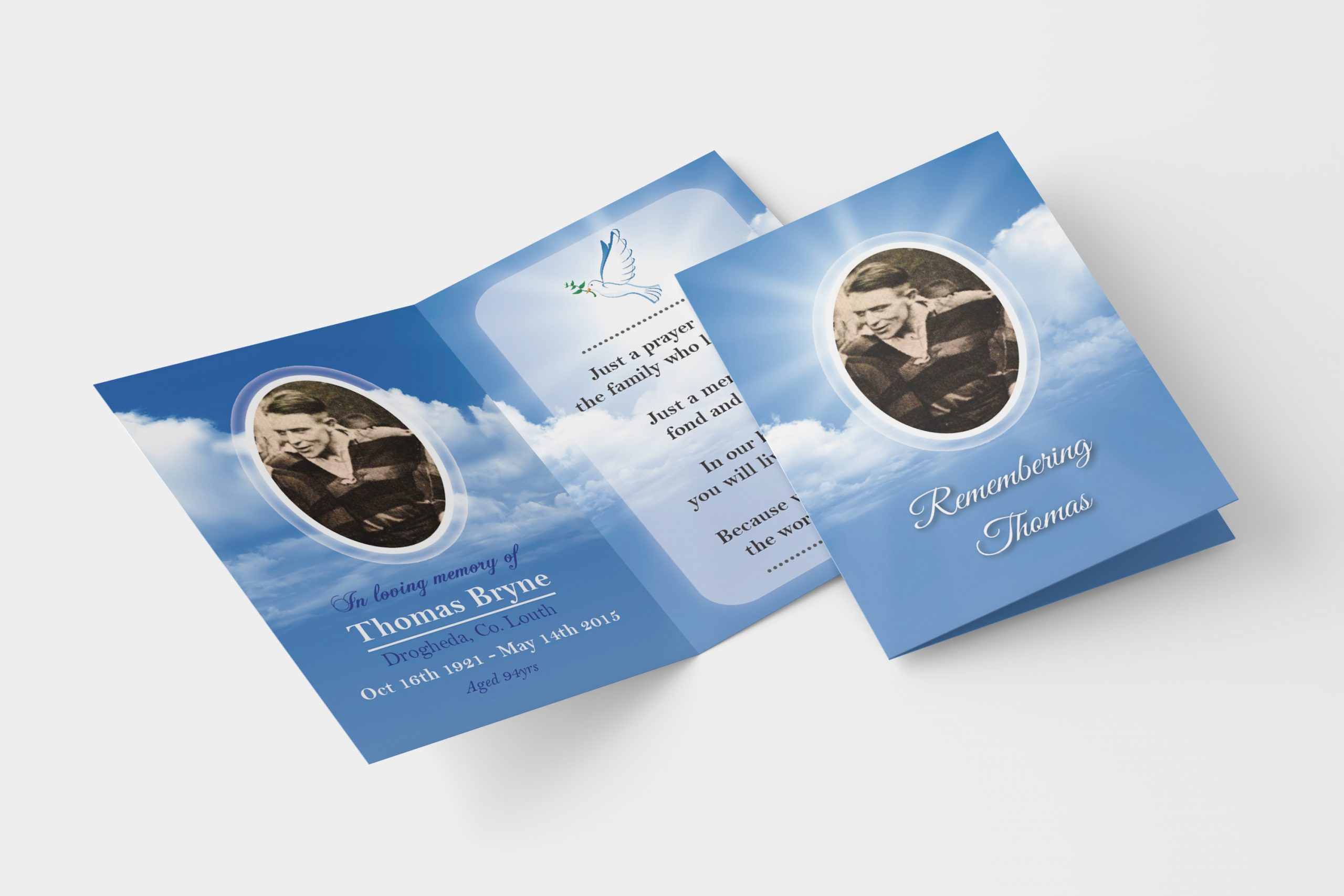 Sky folded memorial card