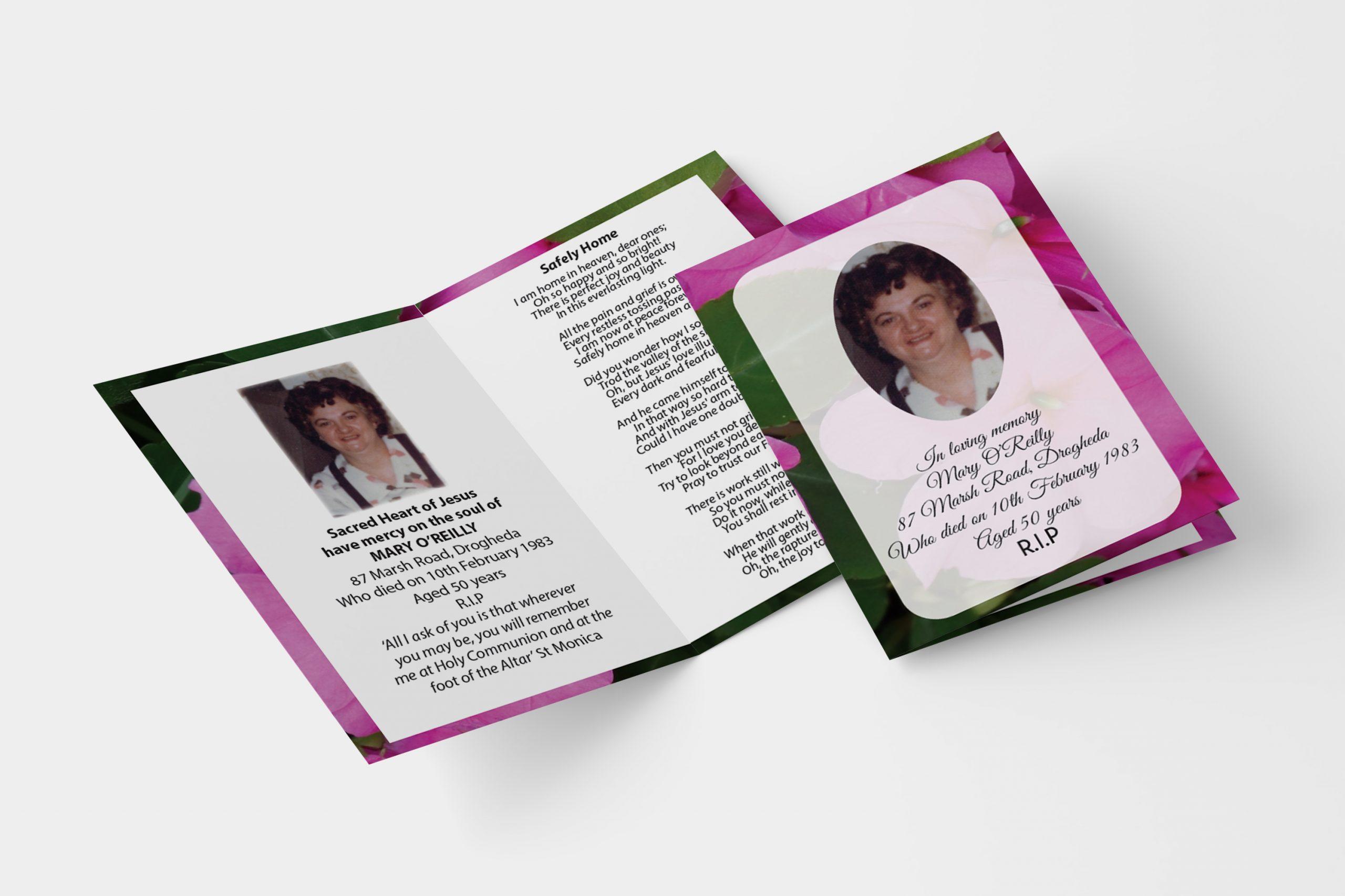 Pink flower folded memorial card