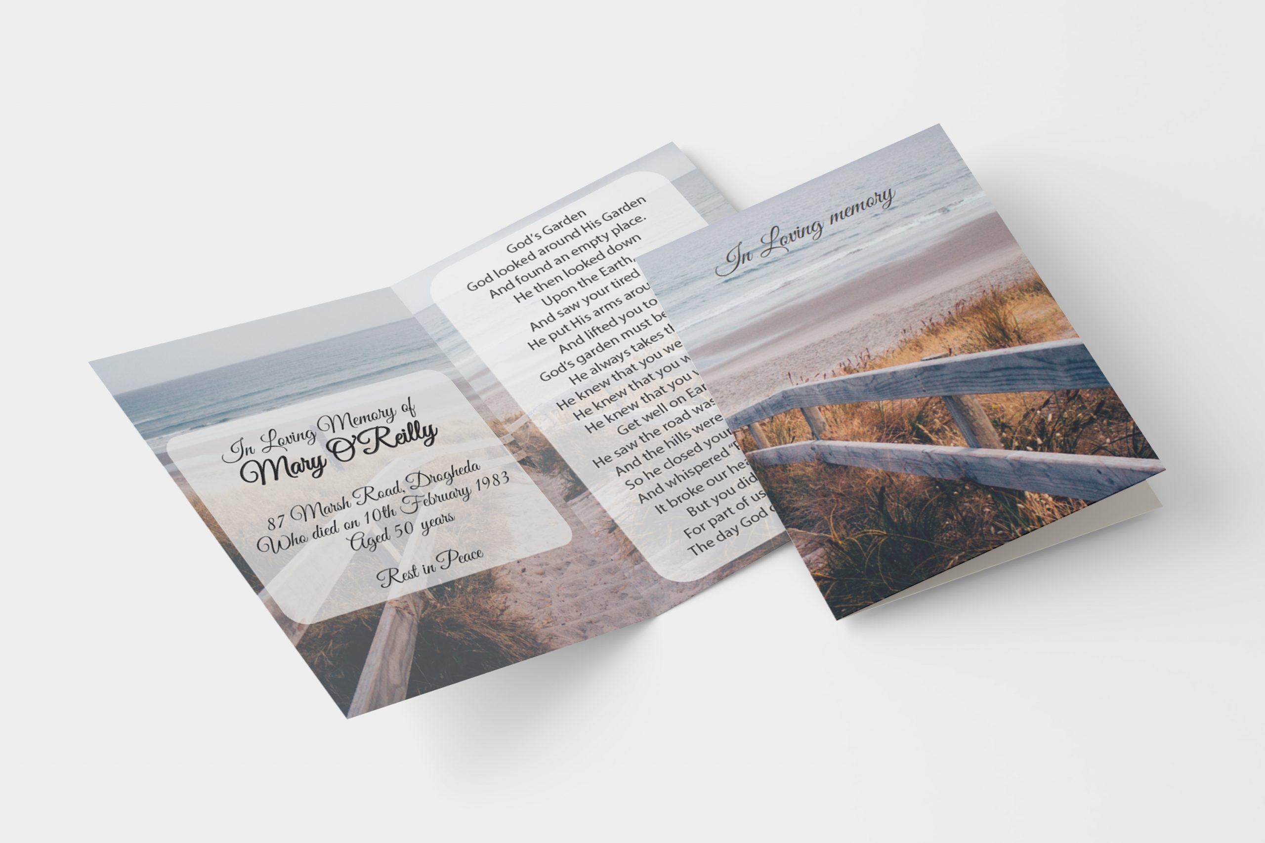 Beach walk folded memorial card