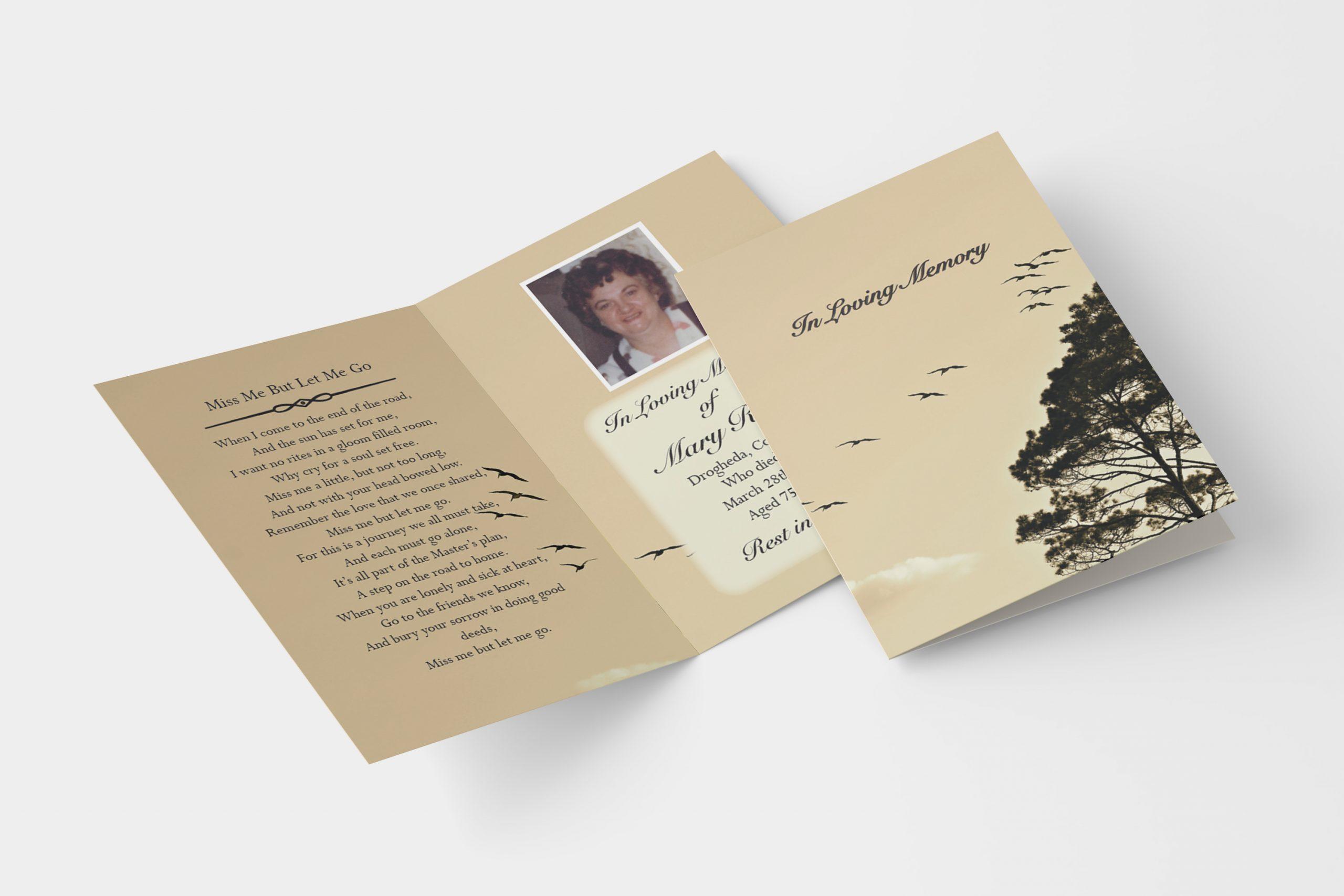Bird Sky folded memorial card