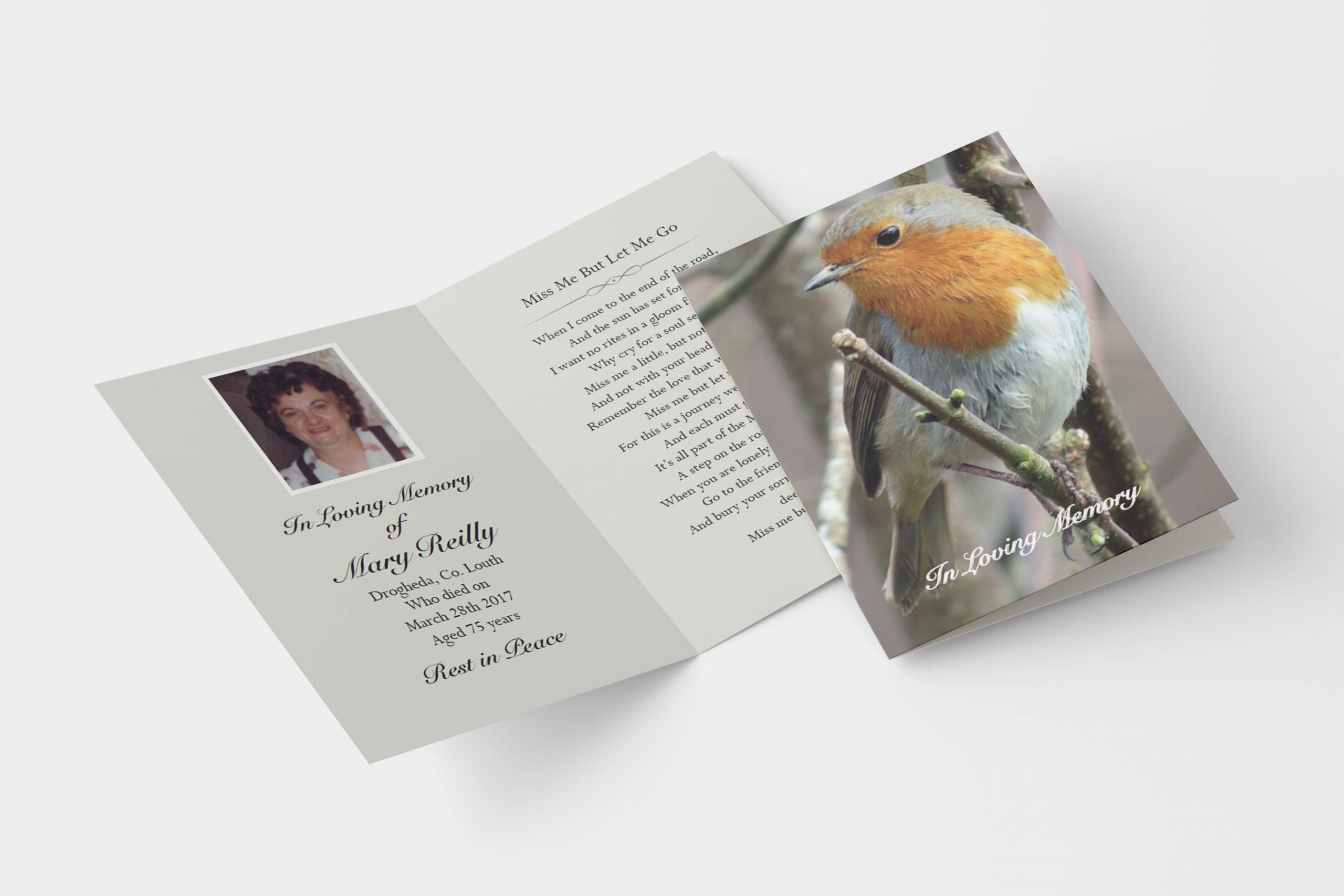 Robin folded memorial card
