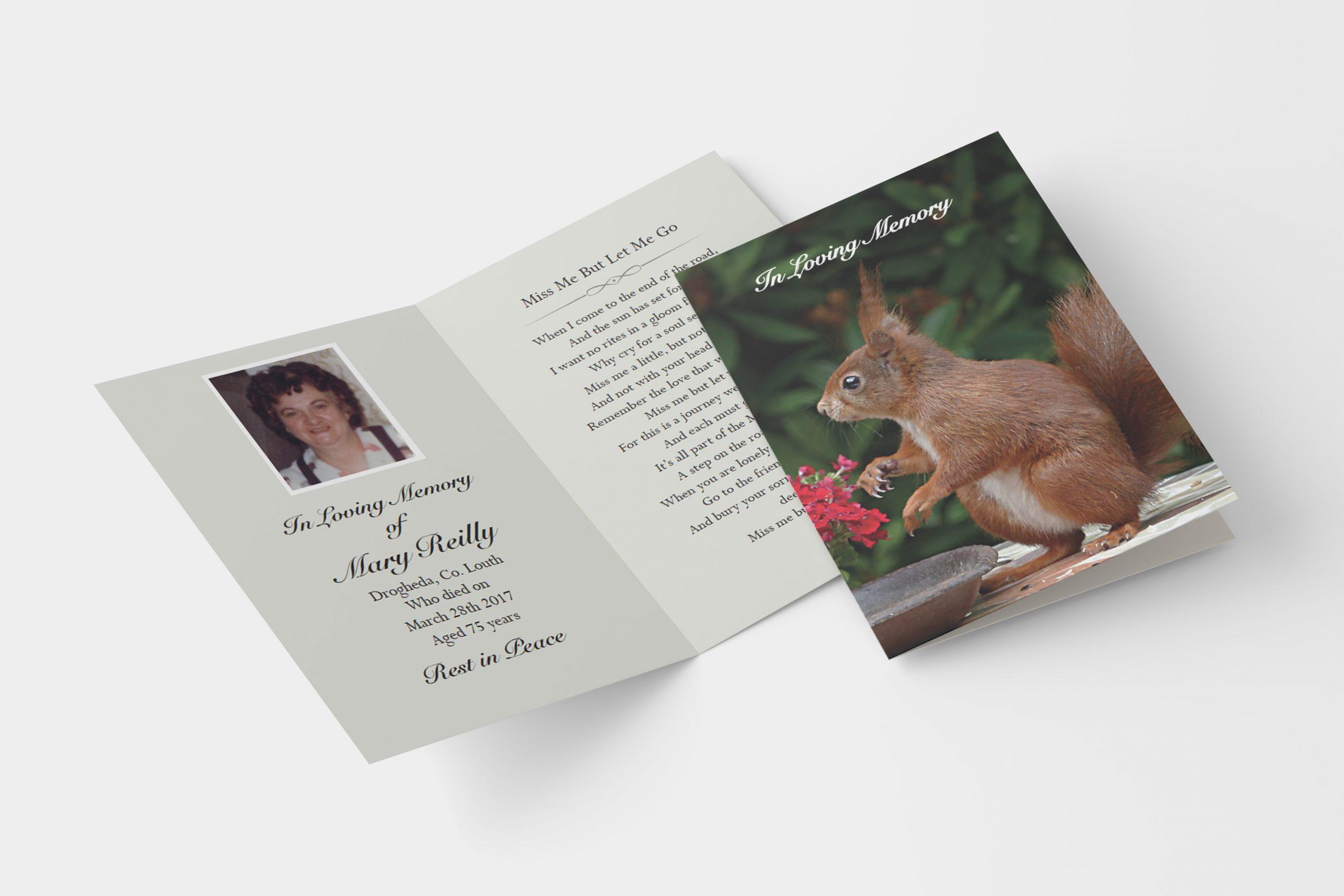 Squirrel folded memorial card