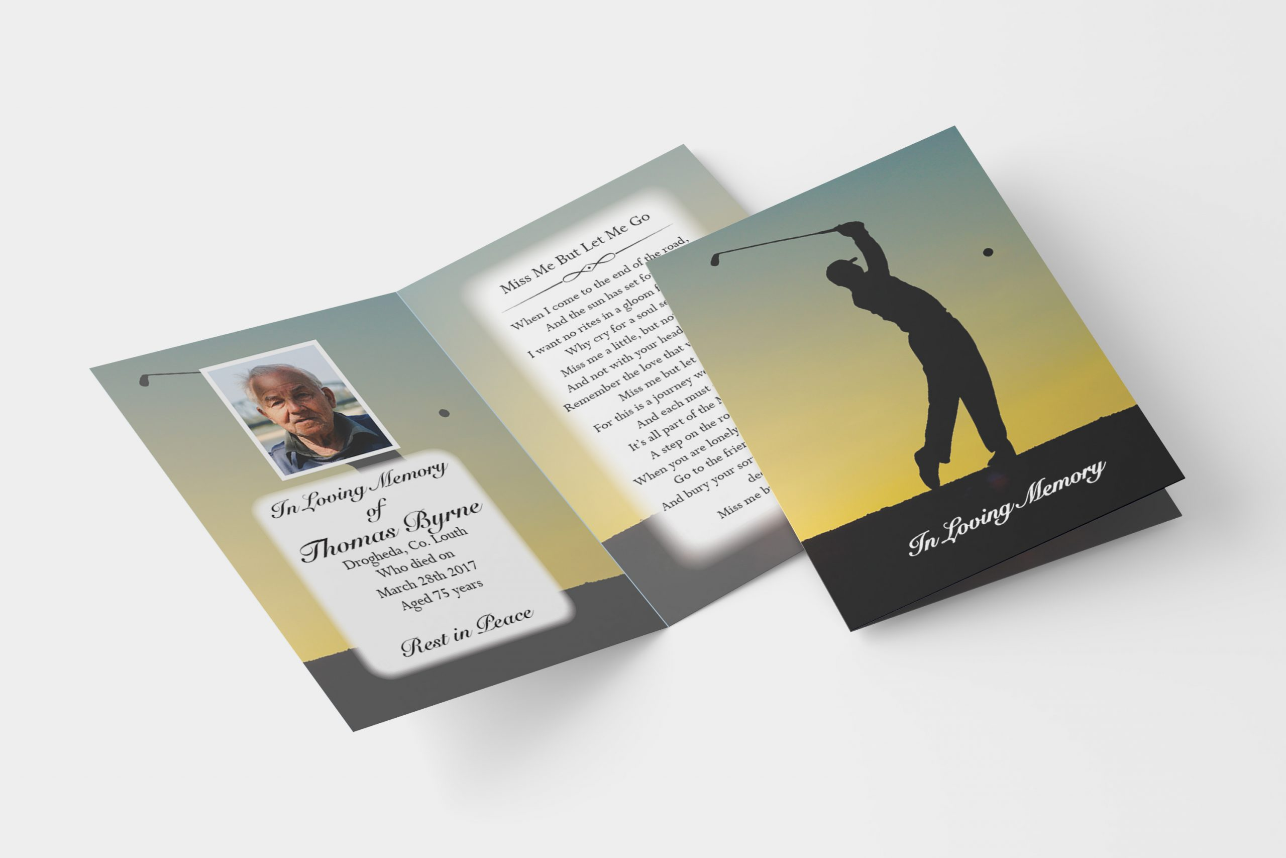golf folded memorial card