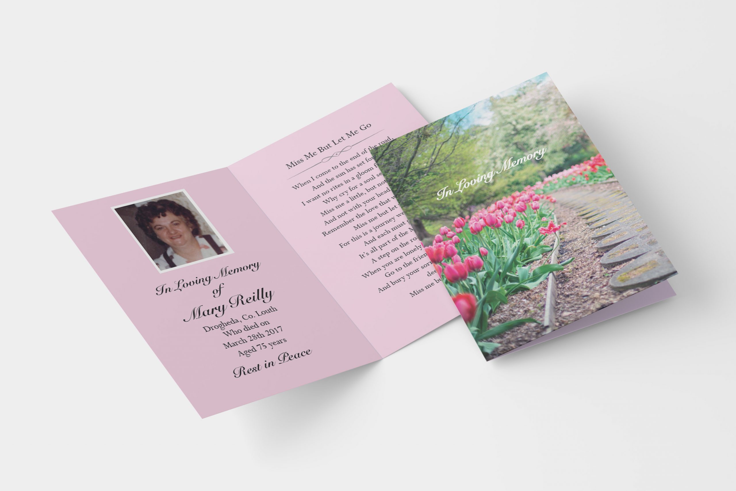 tulips folded memorial card