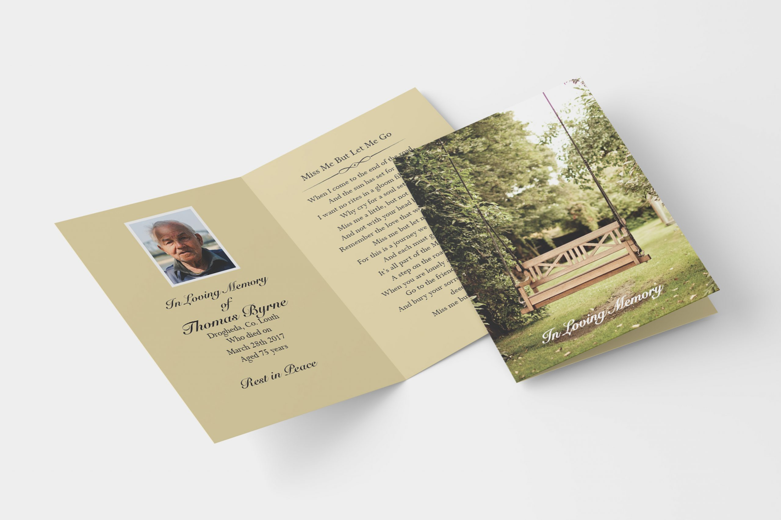 Lonely Bench folded memorial card