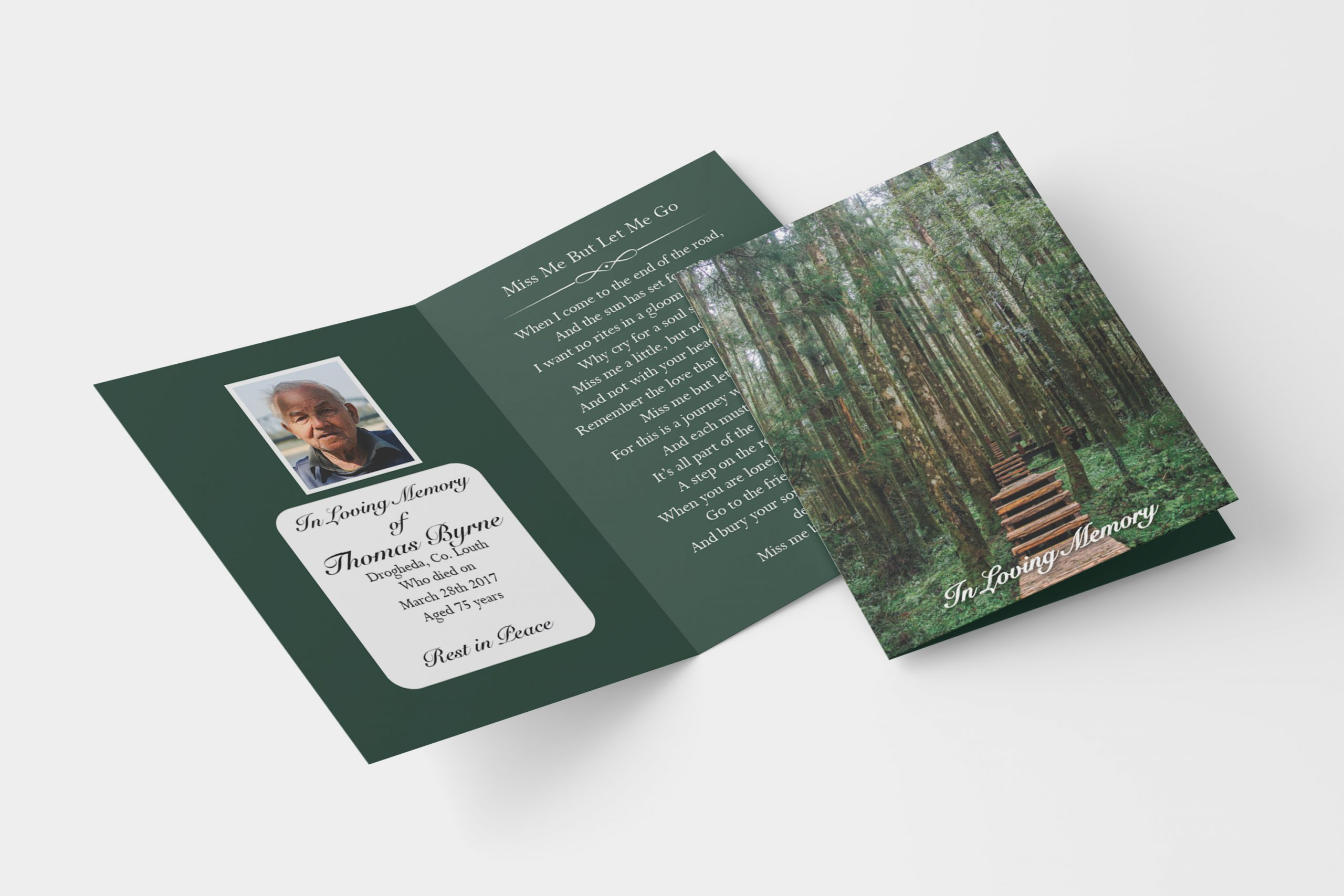 forest folded memorial card