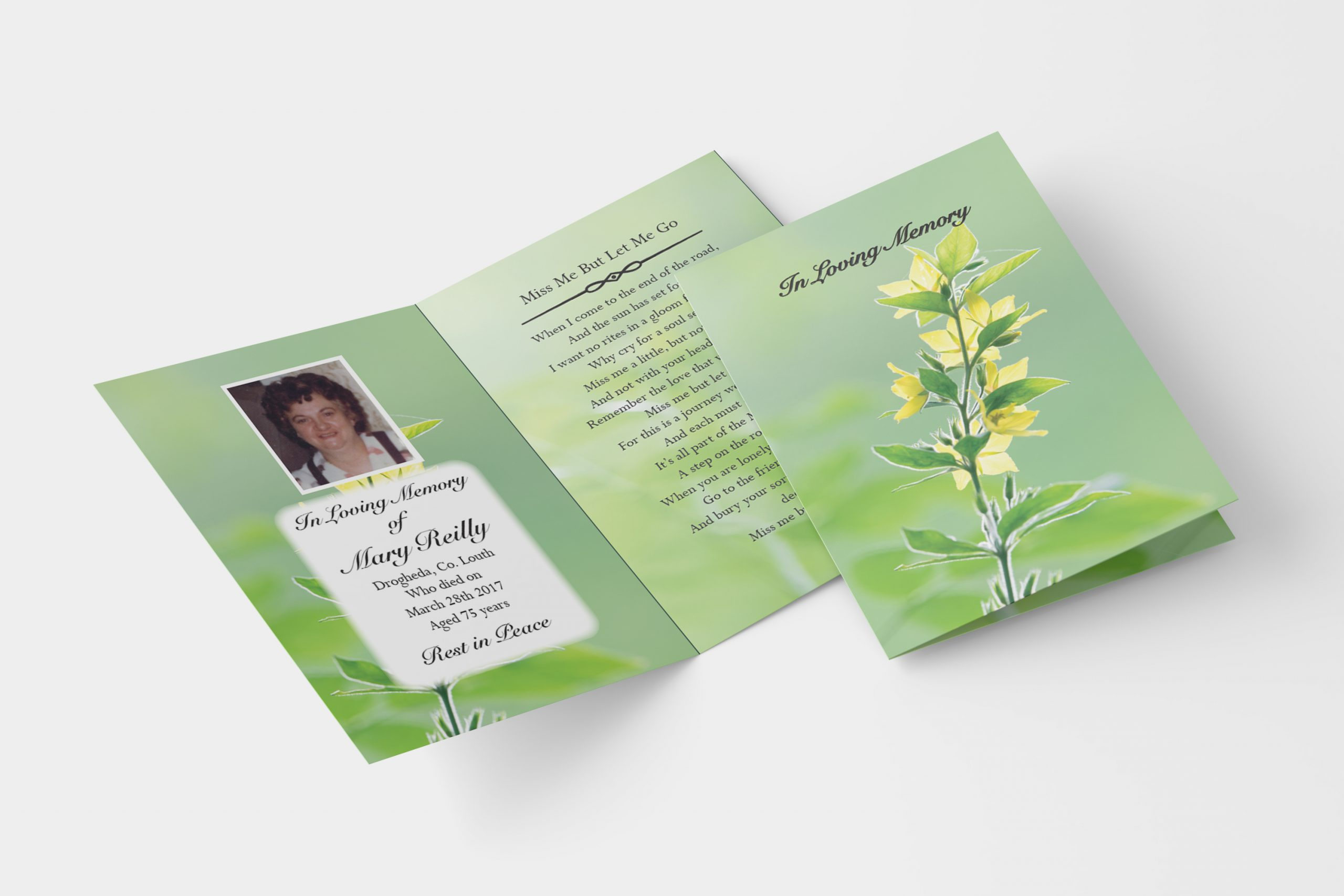 spring folded memorial card