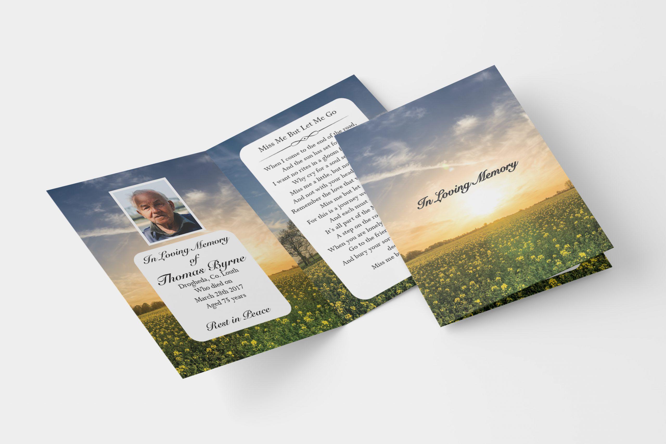 sunrise folded memorial card