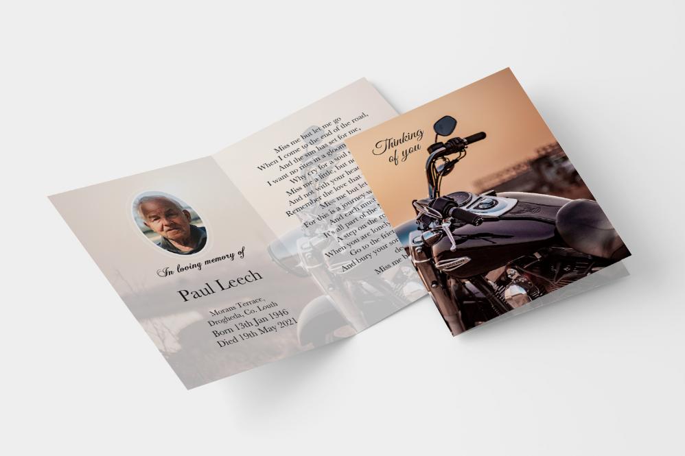 Motorbike folded memorial card
