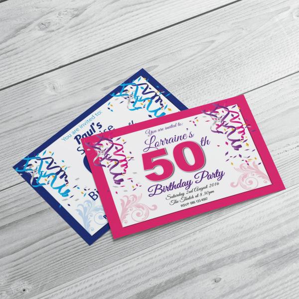 Custom Printed Party Invitations