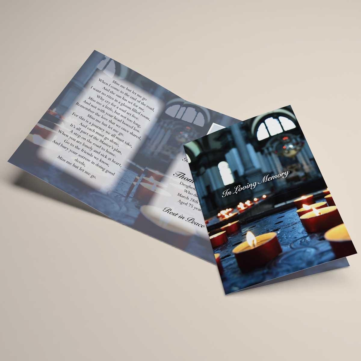 Religious inspired memorial card design - candles