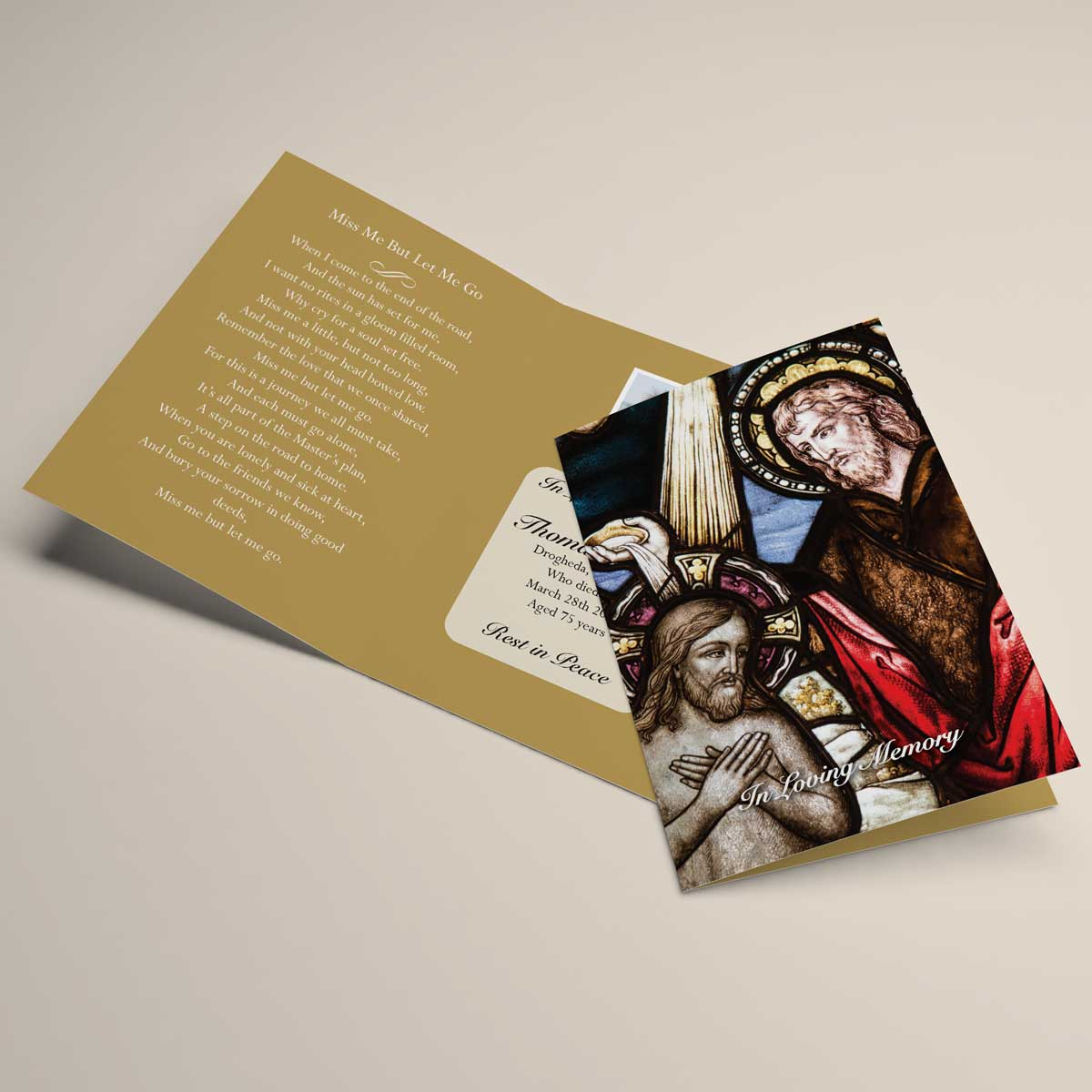 Religious memorial card