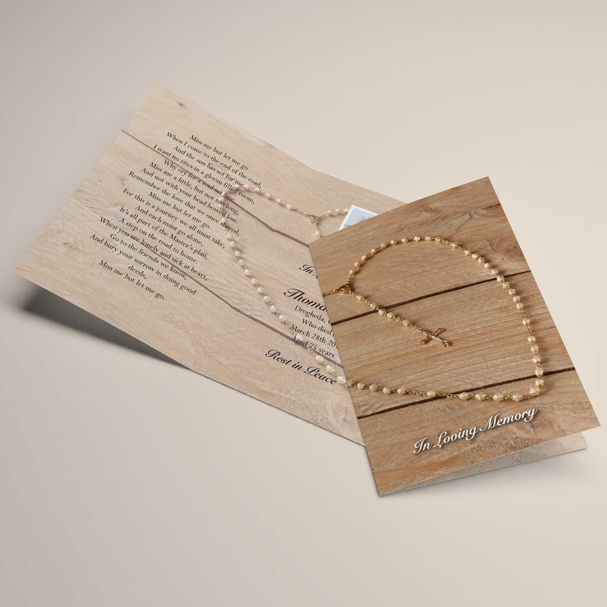 Religious inspired memorial card design - rosary beads
