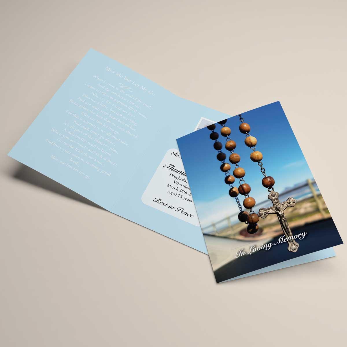 Religious inspired memorial card design - crucifix rosary
